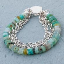925 Silver Heart Charm on Andean Opal Beaded Bracelet