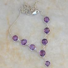 925 Sterling Silver NecklaceAmethyst Purple Necklace 18 inch Necklace,February Amethyst Jewelry