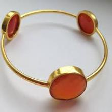925 silver gold plated three stone bangle