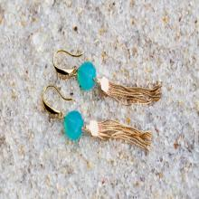 ART DECO EARRINGS, aqua chalcedony earrings, fringe earrings, tassel earrings, aqua color earrings, aqua chalcedony