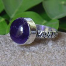 Amethyst Ring - Gemstone Ring - Handmade Ring - Fashion Ring - Round Ring - Purple gemstone Jewelry - Bezel Setting