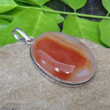 Agate Fashion Pendant - Handcrafted Pendant - Sterling Silver Pendant - Cabochon Pendant - Oval Agate Pendant - Red Agate Jewelry