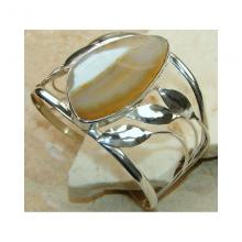 Agate Slice Bangle 925 Sterling Silver