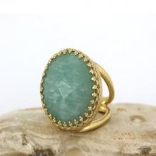 Amazonite ring,semiprecious ring,sky blue ring,bridal ring,wedding ring,gold wow ring,double band ring
