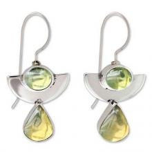 Amber and peridot drop earrings, 'Dreams'