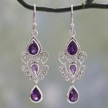 Amethyst Birthstone Dangle Earrings in Sterling Silver, 'Enchanted Princess'