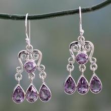 Amethyst Chandelier Earrings in Sterling Silver, 'Violet Symmetry'