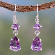 Amethyst Dangle Earings, 'Classic Elegance'