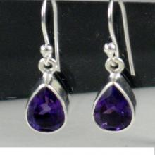 Amethyst Earring Small dangle earring sterling silver gemstone earring semi precious Stones wedding gift bridal party purple gemstone