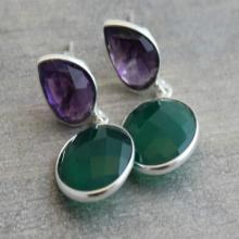 Amethyst Earrings - Green Onyx Earrings - Silver Earrings - Xmas Gifts- gemstone earrings - bezel set earrings