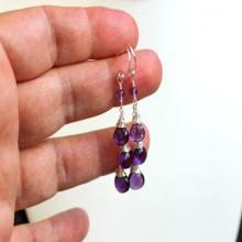 Amethyst Earrings Dangle Sterling Silver Purple Gemstone Trio Briolette Earrings