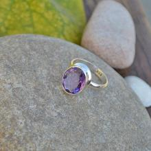 Amethyst Gemstone Ring - Solid 925 Sterling Silver Ring - Birthstone Ring - Handmade Solitaire Gift Ring