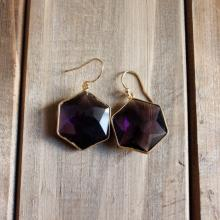 Amethyst Hexagon Drop Earrings Amethyst Hexagon Dangle Earrings Amethyst Gemstone Earrings Gemstone Bohemian Simple Earrings