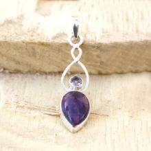 Amethyst Pendant - Purple Turquoise Pendant, Gemstone Pendant, Silver Pendant, Artisan Pendant, Sterling Silver Jewelry, Bezel Set Pendant