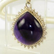 Amethyst Pendant Purple Cabochon Large Gemstone Sterling Silver 925 Yoga Jewelry