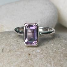 Amethyst Rectangle Ring- Birthstone Ring- Stack Ring- Gemstone Ring- Gifts for Her- Promise Ring- Birthday Gifts- Purple Ring