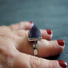 Amethyst Ring Silver Ring Gemstone Ring Raw Amethyst Natural Jewelry