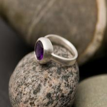 Amethyst Ring - Purple Amethyst Ring - Purple Gemstone Set in Sterling Silver.