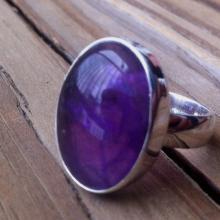 Amethyst Ring Bezel set Amethyst Oval Amethyst Ring Purple flash Amethyst Artisan Statement Ring 925 Sterling Silver