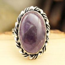 Amethyst Ring Sz 8, Silver Amethyst Ring, Statement Ring, Crystal Ring, Gemstone Ring, Boho Ring, Cocktail Ring, Purple