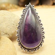 Amethyst Ring Sz 9, Silver Amethyst Ring, Statement Ring, Crystal Ring, Gemstone Ring, Boho Ring, Cocktail Ring, Purple