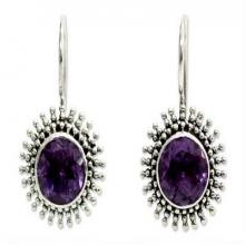 Amethyst Sterling Silver Drop Earrings, 'Radiant Sunbeams'
