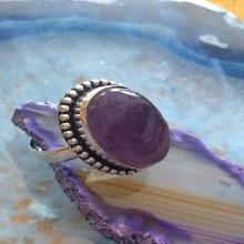 Amethyst Stone Purple Sterling Silver Ring Size 6.5 - Gemstone Ring - Boho Chic Ring