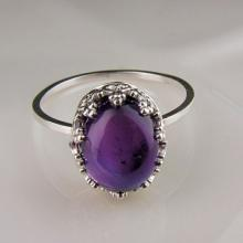 Amethyst Victorian Sterling Silver Stacker Ring