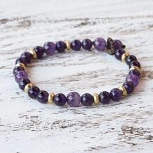 Amethyst and Brass Beaded Bracelet from Thailand