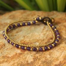 Amethyst and Brass Beaded Bracelet