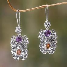 Amethyst and Citrine Frog Dangle Earrings, 'Rainforest Frog'