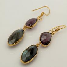 Amethyst and Labradorite Gemstone Earrings, Amethyst Earrings, Labradorite Earrings, Bezel Earrings, Dangle Earrings,