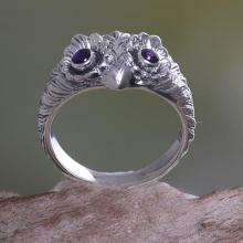 Amethyst and Silver Bird Ring