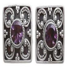 Amethyst button earrings, 'Mystical Flower'