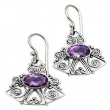 Amethyst dangle earrings, 'Balinese Bell'