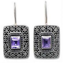 Amethyst drop earrings, 'Adoration'