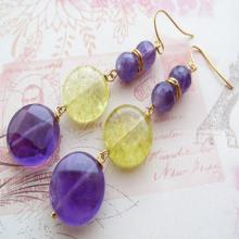 dangle earrings, uk gemstone jewellery, purple stone earrings, christmas gift for her
