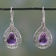 Amethyst on Sterling Silver Hook Earrings, 'Timeless Ganges'