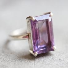 Amethyst Prong set ring Gemstone ring