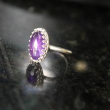 Amethyst ring, sterling silver ring, princess ring, crown ring, gemstone ring, medieval ring, statement ring, purple ring, handmade ring.