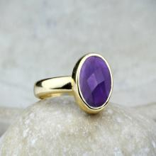 Amethyst ring,gold ring,bridal ring,February birthstone ring,delicate stone ring,simple ring,gemstone ring,purple ring