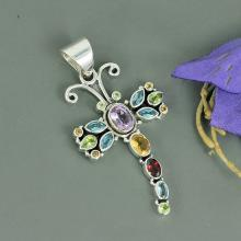 Amethyst, Citrine, Blue Topaz Multi Gemstone 925 Sterling Silver Pendant, Bezel Set Butterfly Shape Pendant, Unique Gift Jewelry