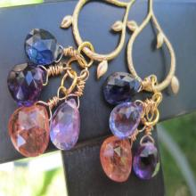 Amethyst, Kyanite, gold and Topaz Gemstone Earrings -Afternoon Delight