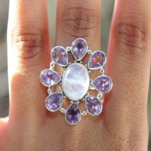 Amethyst, Moonstone Ring,Sterling Silver Ring , Gemstone Ring