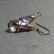 Ametrine Earrings Gold Filled Earrings Wire Wrapped Dangle Drop Gemstone Earrings