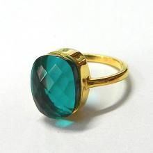 Apatite hydro gemstone ring - 925 sterling silver vermeil gemstone ring - cushion gemstone ring - 18k gold plated jewelry