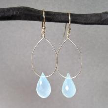 Aqua Chalcedony Drop Earrings - Gold Earrings - Gemstone Earrings