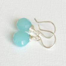 Aqua Chalcedony dangle earrings - aqua earrings - gemstone earrings - bridesmaid gift
