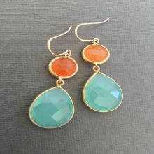 Aqua blue chalcedony and orange Aventurine gemstone Earrings, Orange blue earrings, Bridesmaid Jewelry, summer Wedding earring