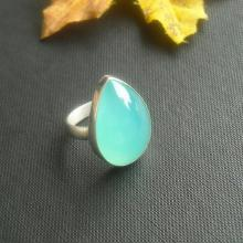 Aqua chalcedony ring - Drop ring - Aqua ring - Gemstone ring - Bezel ring - Size 5 & more - Gift for her